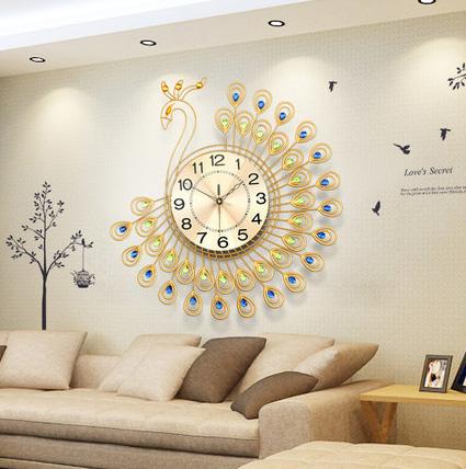 đồng hồ treo tường chim công vàng dong-ho-treo-tuong-dep-jt1381