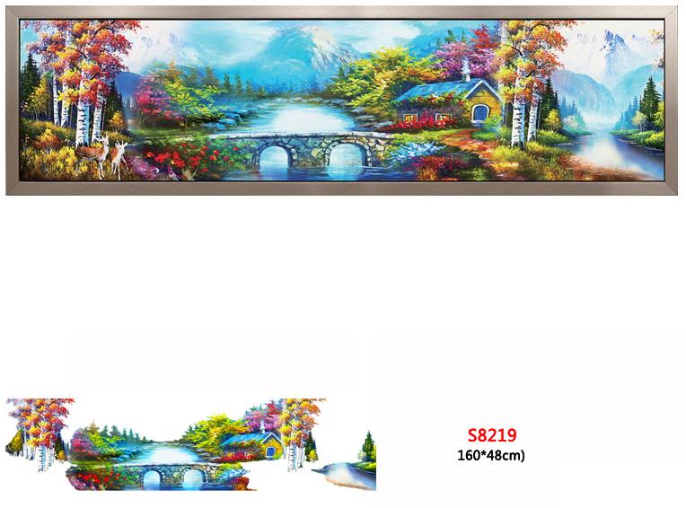 Tranh đính đá phong cảnh tuyệt đẹp S8219 - ngôi nhà ven suối tươi đẹp