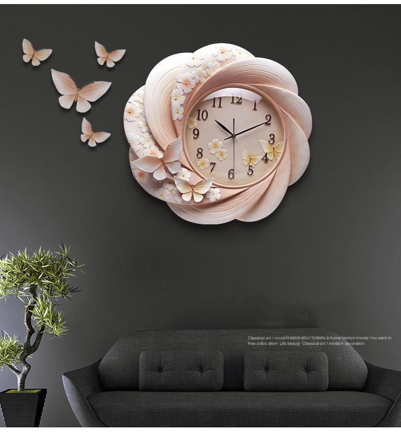 đồng hồ treo tường hoa cánh bướm zb027